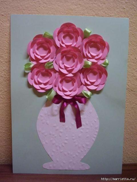 Цветы в вазе своими руками из бумаги