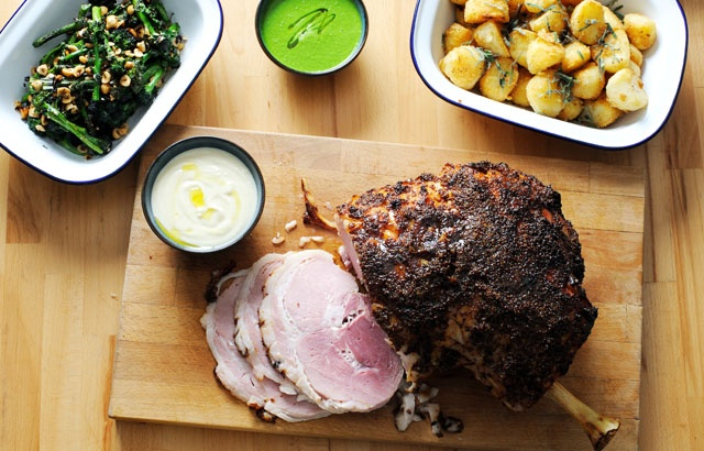 Honey mustard glazed ham with all the trimmings | Recipe