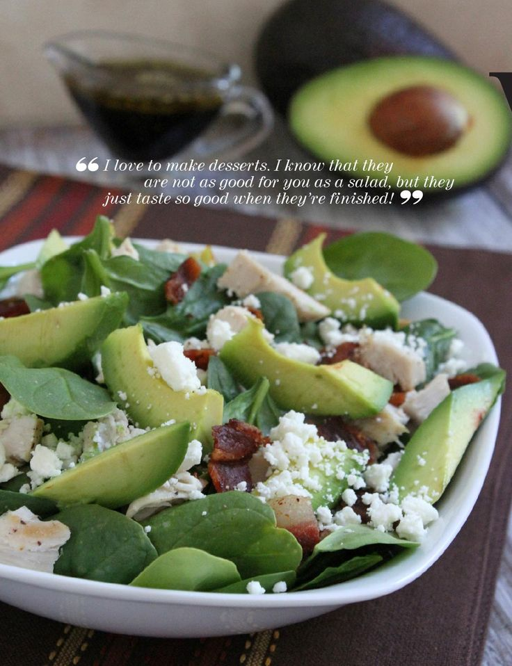 Spinach, chicken, goat cheese and avocado salad - FoodieCrush Summer ...