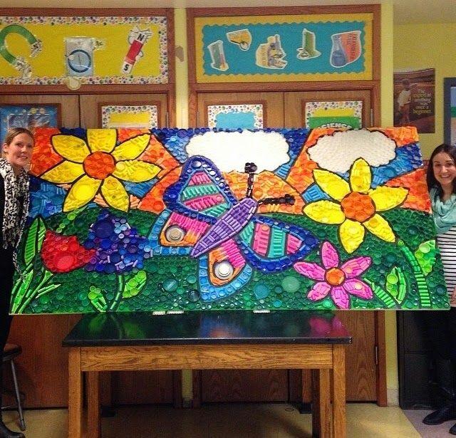 Recycled bottle cap mural billedkunst pinterest for Bottle cap mural tutorial