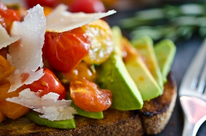 Tomato Avocado Toast with Shaved Parmesan. Ingredients: Cherry ...