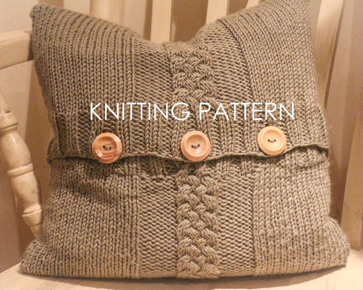Knitted Infinity Scarves Patterns : Chunky Knit Cushion Cover Cable Knit Pillow Cover Super Chunky Dark Brown H...