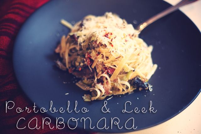 Portobello and Leek Carbonara | Delicious Looking Food | Pinterest