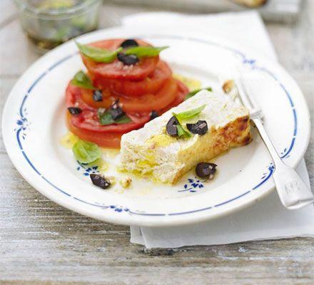 Parmesan-baked ricotta with tomato, olive & basil salad | Recipe