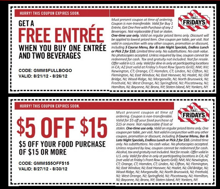 Tgif discount coupons