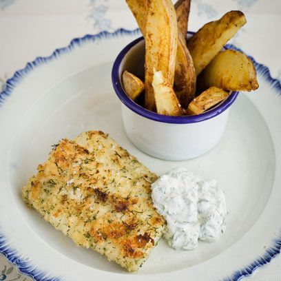 Fish and Chips With Tartare Sauce These are sort of 'healthy' fish ...