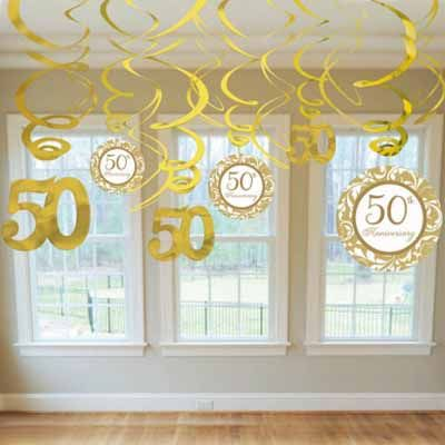 50th anniversary swirl decorations party ideas 50th for Anniversary decoration ideas 50th