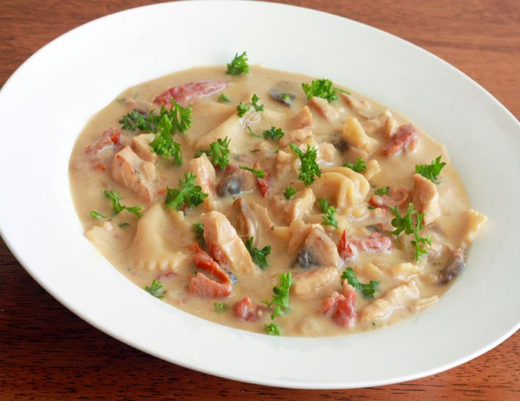 Soup... Bow-tie pasta topped with a creamy sauce of grilled chicken ...
