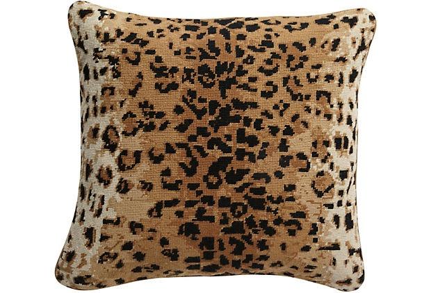 Leopard Needlepoint Pillow