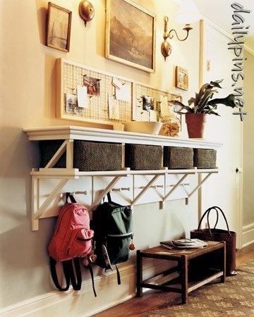 Like the shelf with baskets and hooks underneath
