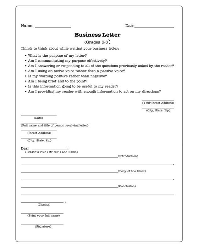 business letter writing topics
