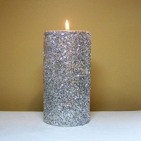 Silver Glitter Pillar Candle Decorative Unscented Candle
