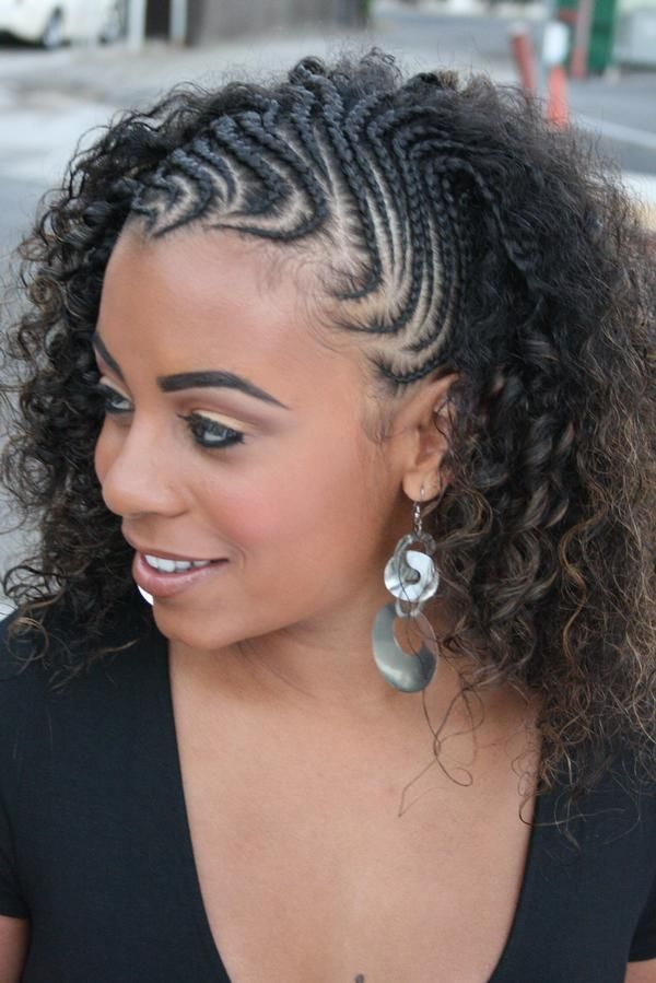 handsome boys hairstyles : Half Cornrow Half Weave Hairstyle Half cornrows to twist out
