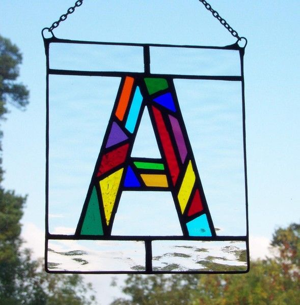 stained glass letter a monograms pinterest With stained glass letters