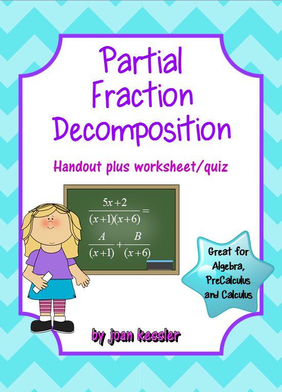 PreCalculus: Partial Fraction Decomposition - Study Guide* Handout ...