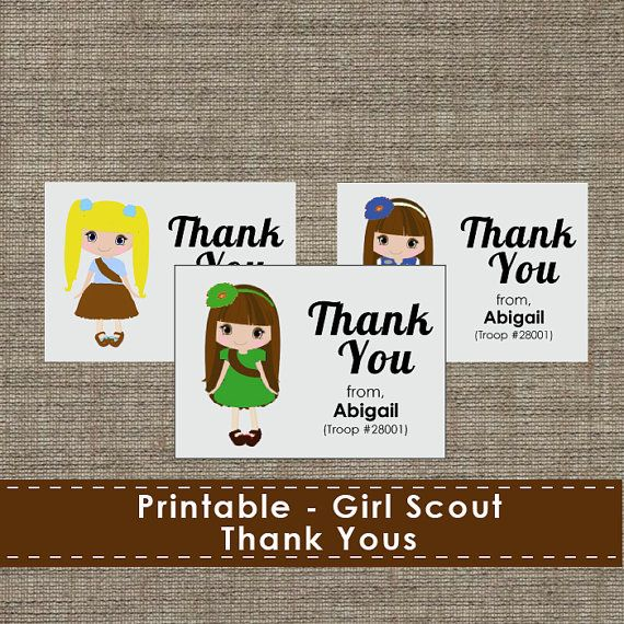 girl scout cookie thank you cards printable download