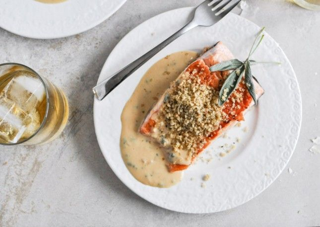 Dijon and Garlic Bread Crumb Salmon, must make. Drool.