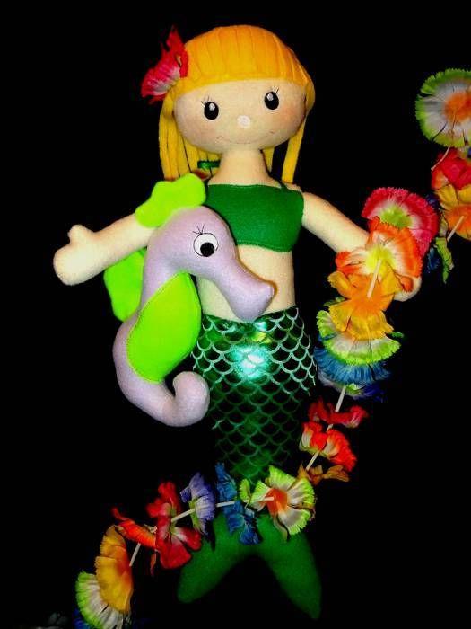 In Hoop Mermaid Doll with her Seahorse