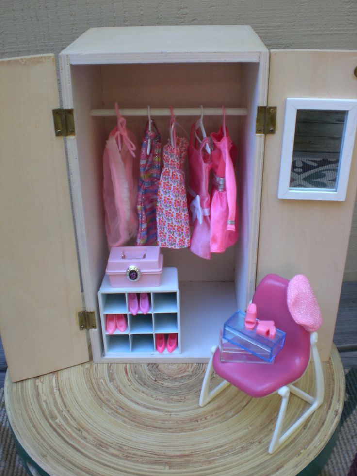 Barbie Doll House Pink Wardrobe Vignette Room Furniture Accessories Bedroom Closet Clothes