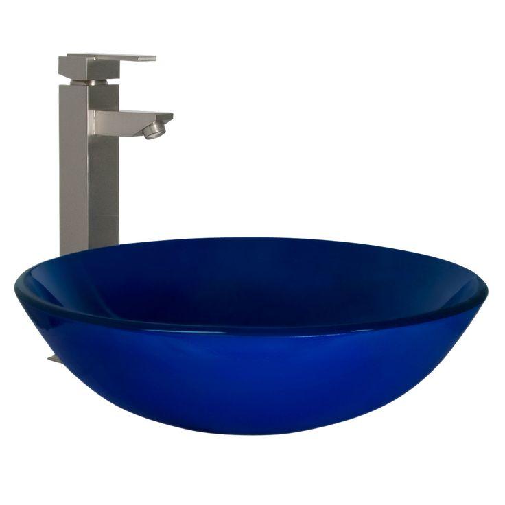 Deep Blue Glass Vessel Sink Vessel Sinks Pinterest