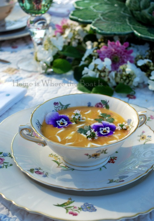 Chilled Carrot Soup~ garnished with violas, some flowering thyme ...