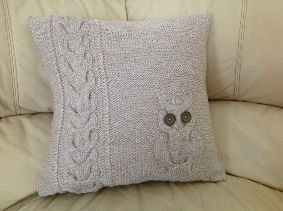 Owl Cushion Knitting Pattern : knitted cushion cover owl