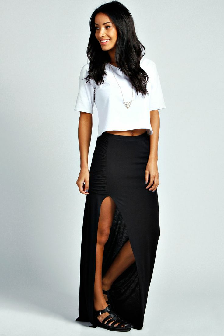 ria ruched top jersey maxi skirt