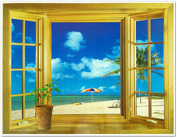 3d window beach scene flowers tree sea wall stickers art for Beach scene mural wallpaper
