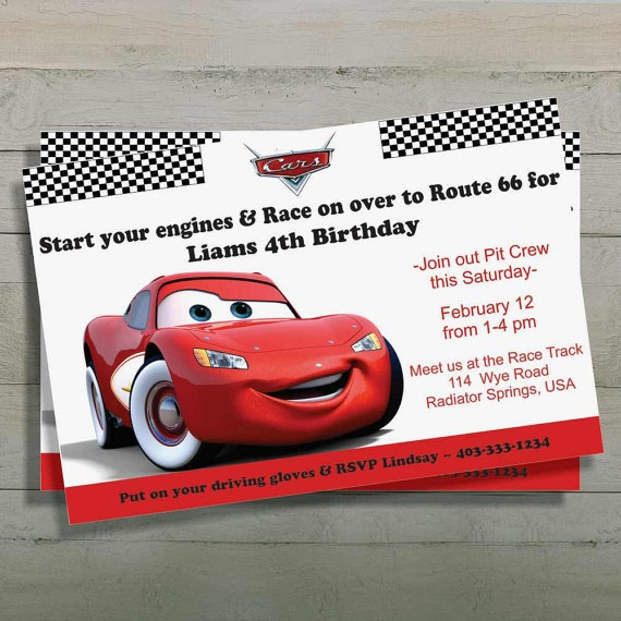Cars Birthday Invitation, Lightning McQueen, Digital File ...