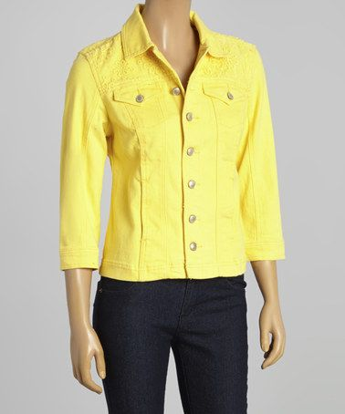 Another great find on #zulily! Yellow Denim Jacket - Women by Live A