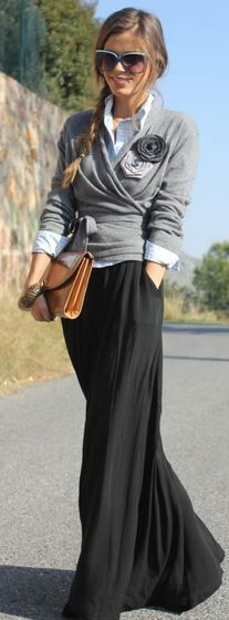 Ruched sweater wrapped at waist with long skirt with pockets, top with a big flower on sweater, and a crisp white shirt underneath - college, work, office