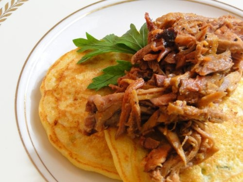 Fresh Corn and Scallion Pancakes with Smoked Pork Shoulder