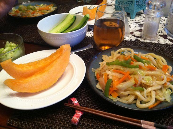 Vegan night. Japanese stir-fry udon noodle with soy sauce, salt ...