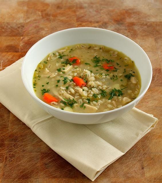 Chicken, Vegetable & Barley Soup omit potatoes, add 1-2tsp herbs de ...