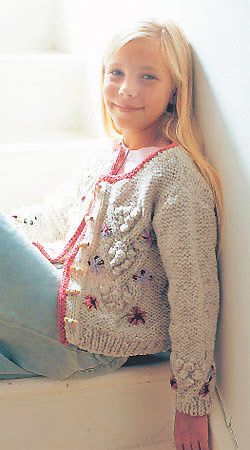 Bobble cardigan for girls, free pattern from all about you