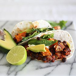 Easy and tasty soft tacos with maple chilli roast sweet potato, spicy ...