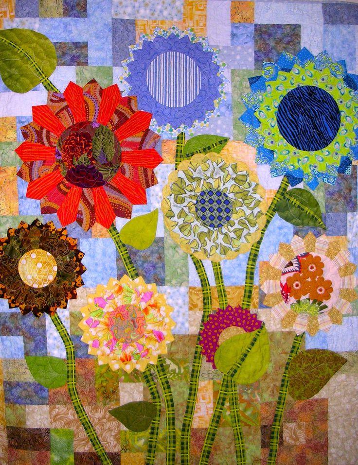 Modern Floral Applique Art Quilt-Reserve for dda 1116 Debi