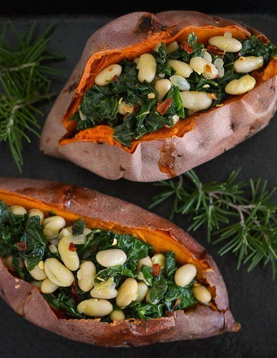 ... Stuffed Sweet Potatoes With White Beans And Kale Recipe — Dishmaps