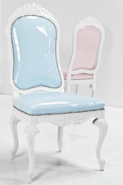 pastel chairs pink and blue