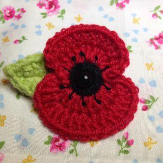 Free Crochet Poppy Brooch Pattern : Lest We Forget ~ Poppy ~ free pattern Crochet - Poppies ...