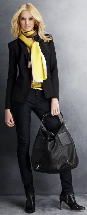 Ann Taylor.  all dressed in black - with a POP of color around the neck!