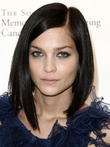 Medium length hairstyle: a -line  long bob, dark brown hair