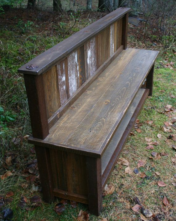 Reclaimed Rustic Backed Entry Bench