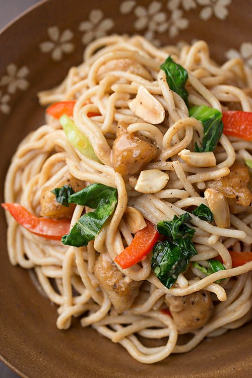 Saucy Peanut Chicken With Veggies Over Brown Rice Noodles…Click here ...