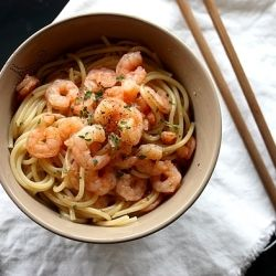 ... with sautéed shrimps, marinated ginger, wasabi and soy sauce
