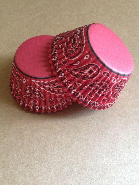red bandana western cowboy cupcake liners 25