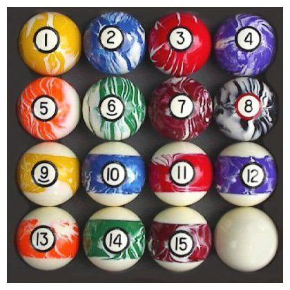 Iszy Billiards Pool Table Billiard Ball Set Swirl Marble Style By
