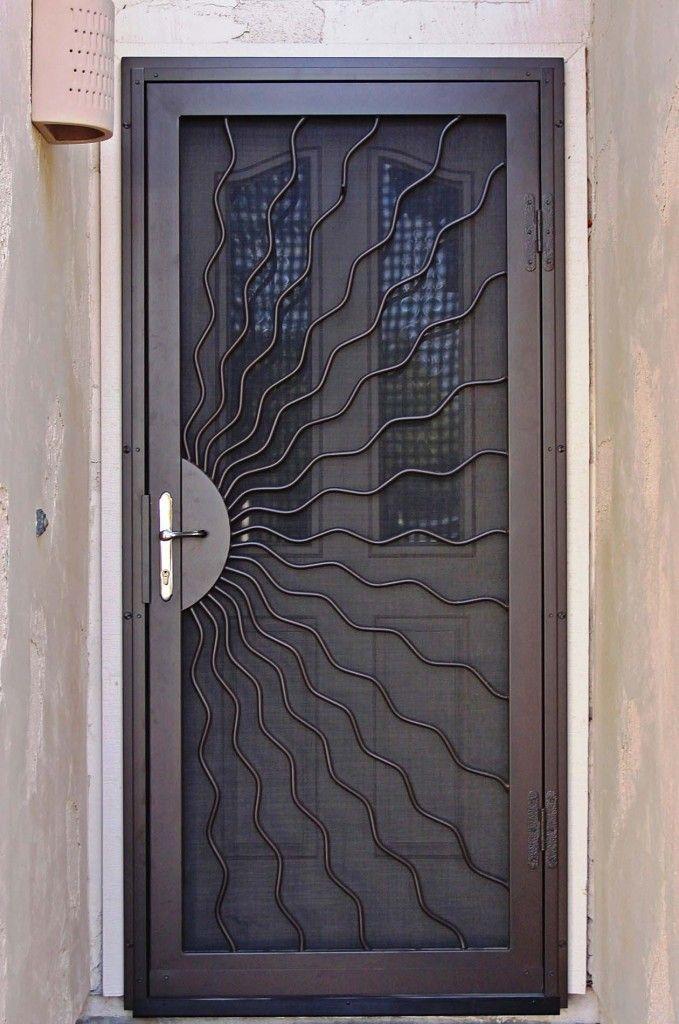 Security screen doors iron security screen door for Front door security