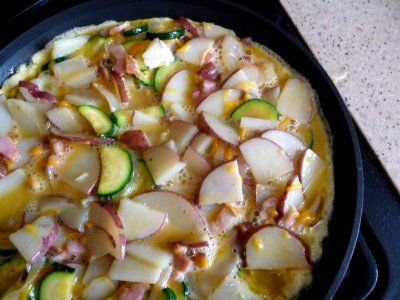 zucchini-potato-bacon frittata | Food - Breakfast | Pinterest