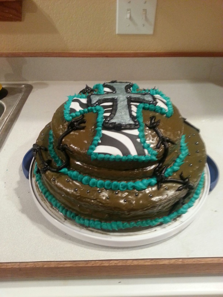 Double layer Country Cross Chic birthday cake. Found a picture of this ...